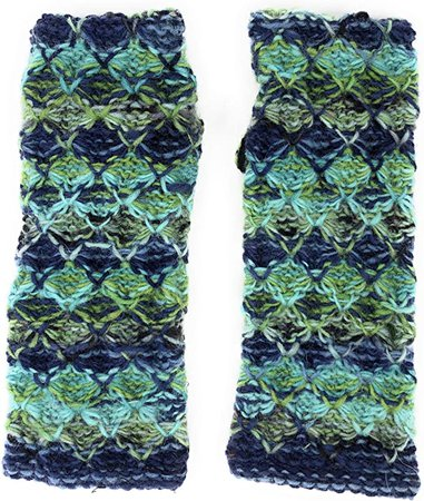 Hand Knit Fingerless Striped Diamond Winter Wool Texting Gloves Mittens Warm Fleece Lined (Turquoise) at Amazon Women's Clothing store