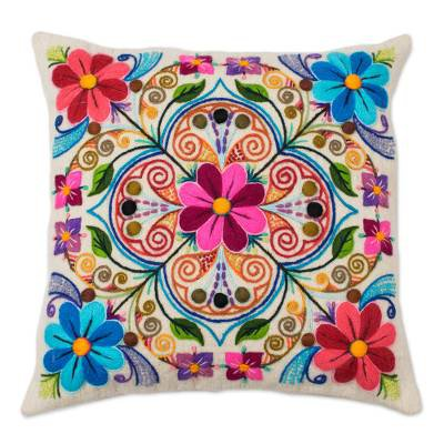 Floral Embroidered Wool and Alpaca Blend Cushion Cover - Floral Andean Kaleidoscope | NOVICA