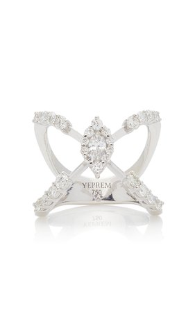 Yeprem 18K White Gold Mystical Garden Ring Size: 7.75