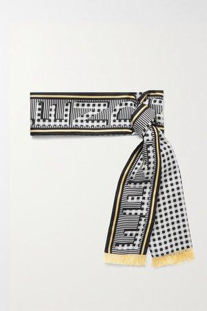 Black Fringed printed silk-twill scarf | Fendi | NET-A-PORTER