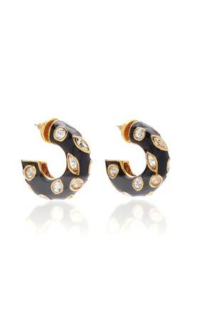 Oscar de la Renta Small Metal Hoop With Crystals P Earring