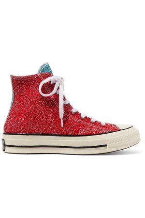 Converse   + JW Anderson Chuck Taylor All Star 70 glittered canvas high-top sneakers   NET-A-PORTER.COM