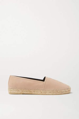 Logo-embossed Textured-leather Espadrilles - Neutral