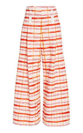 Button-Detailed Plaid Cotton-Blend Wide-Leg Pants By Rosie Assoulin | Moda Operandi