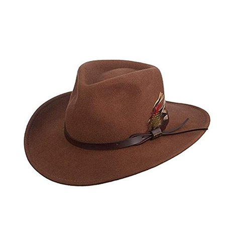 Scala Classico Men's Crushable Felt Outback Hat at Amazon Men's Clothing store: Cowboy Hats