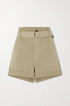 Belted Cotton-blend Shorts - Green