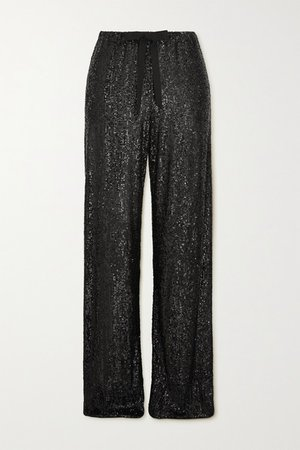 Sequined Tulle Wide-leg Pants - Black