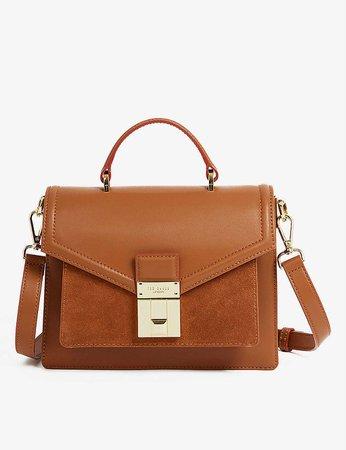 TED BAKER - Kimmies luggage lock-detail leather satchel mini bag | Selfridges.com