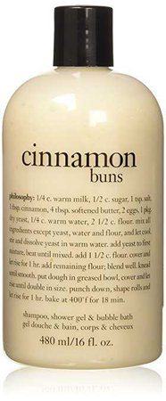Amazon.com : Philosophy Cinnamon Buns Shampoo, Shower Gel and Bubble Bath, 480 ml/16 oz. : Beauty