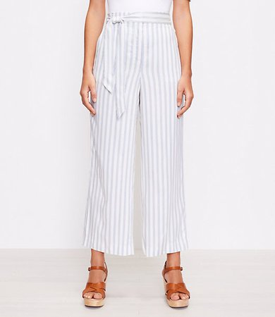 The Tie Waist Pull On Wide Leg Pant in Stripe