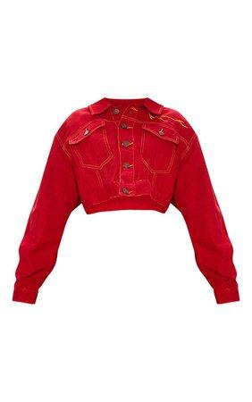 Karl Kani Red Embroidered Jacket | Denim | PrettyLittleThing USA