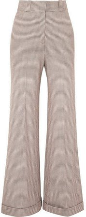 Checked Tweed Wide-leg Pants - Gray