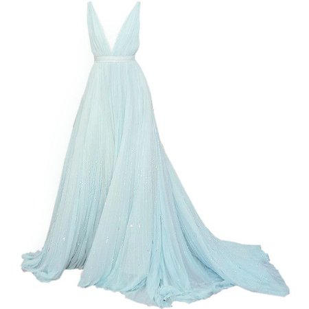 Pastel-Blue Couture Gown