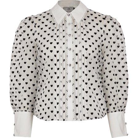 Petite whites heart print sheer shirt | River Island