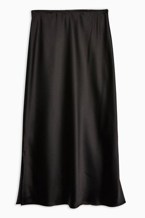 Black Satin Split Bias Midi Skirt   Topshop