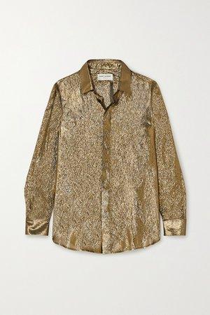 Gold Metallic silk and Lurex-blend blouse | SAINT LAURENT | NET-A-PORTER