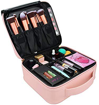 Amazon.com : Relavel Travel Makeup Train Case Makeup Cosmetic Case Organizer Portable Artist Storage Bag with Adjustable Dividers for Cosmetics Makeup Brushes Toiletry Jewelry Digital Accessories Black : Beauty