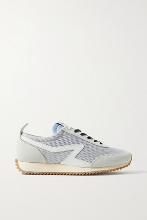 Retro Runner Suede And Leather-trimmed Recycled Mesh Sneakers - Light gray