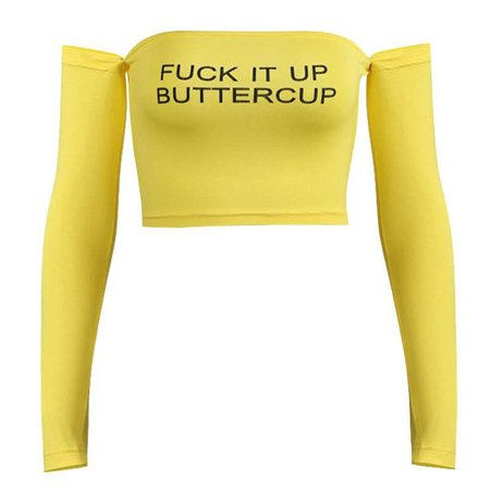 Fuck it up buttercup off shoulder crop top