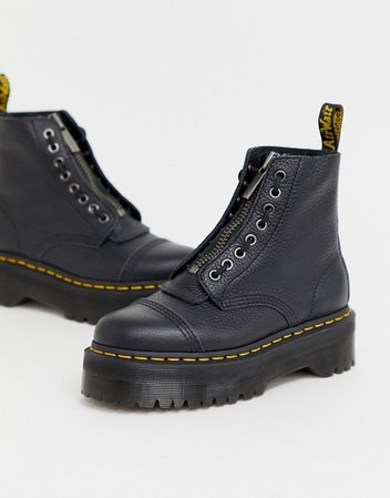 Dr Martens Sinclair flatform zip leather boots in tumbled black   ASOS