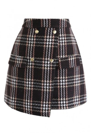 Plaid Print Flap Wool-Blend Mini Skirt in Brown - NEW ARRIVALS - Retro, Indie and Unique Fashion