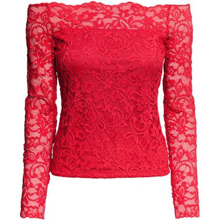 Red Lace Off The Shoulder Blouse