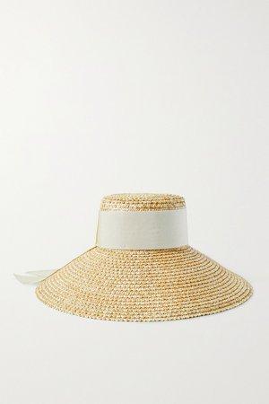 Beige Mirabel grosgrain-trimmed straw hat | Eugenia Kim | NET-A-PORTER