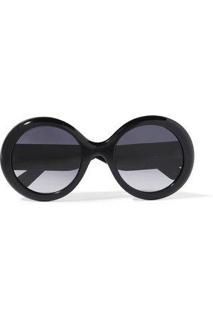 Gucci | Round-frame glittered acetate sunglasses | NET-A-PORTER.COM
