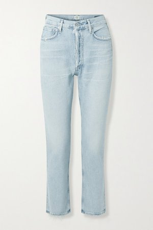 Charlotte Distressed High-rise Straight-leg Jeans - Light denim