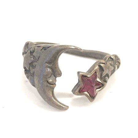 Vintage Jewelry | Vintage Pewter Moon And Star Ring Adjustable Red | Poshmark