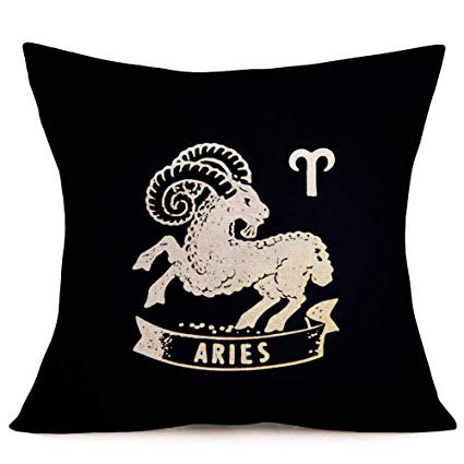 Asamour Twelve Constellations Series Pillow Sham Black Background and Symbol Constellation Pattern Decorative Cotton Linen Throw Pillow Case Cushion Cover Home Pillowcase 18''x18'' (Aries)