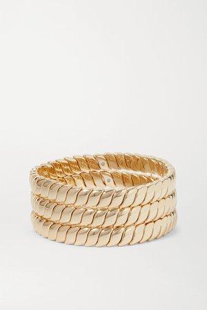 Gold Simple Rope set of three gold-tone bracelets | Roxanne Assoulin | NET-A-PORTER