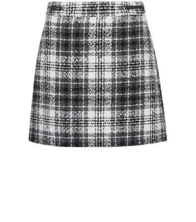 Black Check Boucle Knit Mini Skirt