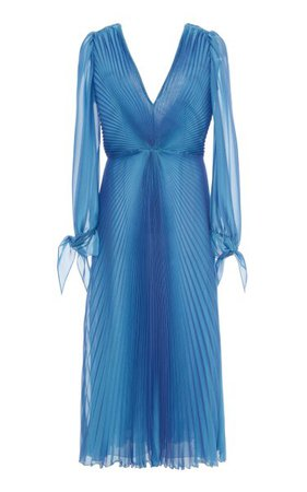Pleated Chiffon Midi Dress By Luisa Beccaria | Moda Operandi