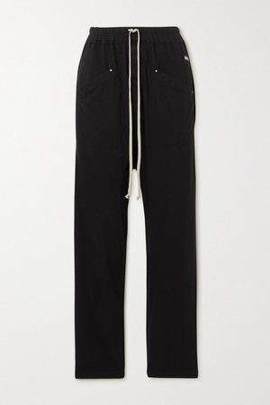Appliqued Cotton-jersey Track Pants - Black
