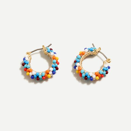 J.Crew: Beaded Mini Hoop Earrings For Women