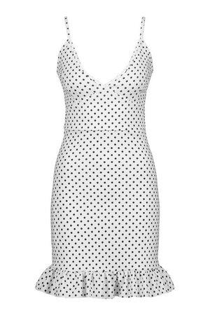 Polka Dot Ruffle Hem Dress   boohoo white