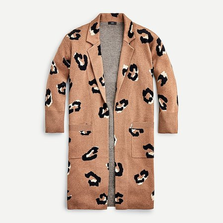 J.Crew: Ella Open-front Long Sweater-blazer In Leopard For Women