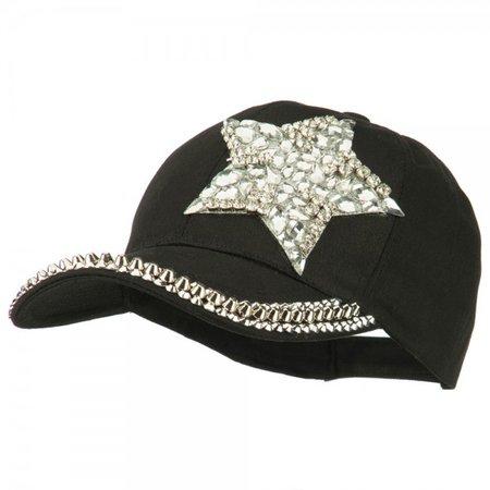 Ball Cap - Black Star Rhinestone Stud Baseball Cap | Coupon Free | e4Hats.com