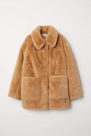 Faux Fur Jacket - Beige