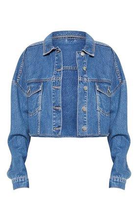 Mid Wash Raw Edge Denim Jacket   Denim   PrettyLittleThing