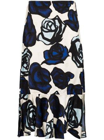 Marni, Ruffled Floral Print Skirt