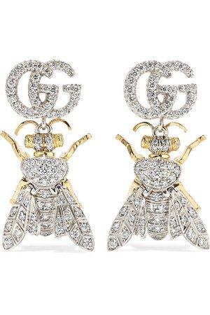Gucci | Le Marché des Merveilles 18-karat yellow and white gold diamond earrings | NET-A-PORTER.COM