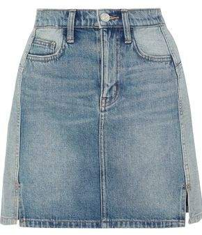 The Reversed Distressed Two-tone Denim Mini Skirt