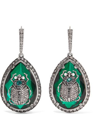 Alexander McQueen   Beetle silver-plated, crystal and faux pearl earrings   NET-A-PORTER.COM