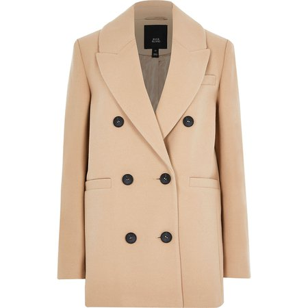 Camel boyfriend blazer coat | River Island