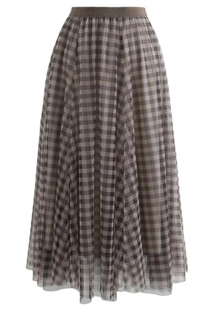 Gingham Double-Layered Mesh Tulle Midi Skirt in Brown - Retro, Indie and Unique Fashion