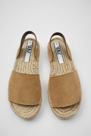 JUTE SOLE LEATHER ESPADRILLES | ZARA United States beige