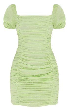 Green Dobby Short Sleeve Open Back Bodycon Dress | PrettyLittleThing USA