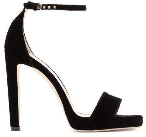 Misty 120 Velvet Sandals - Womens - Black